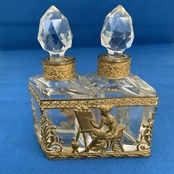 Fabulous Rare Antique Baccarat France Crystal And Dore Bronze Perfume Bottle