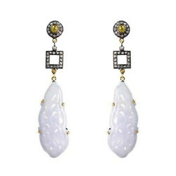 Diamond Studded Carved Onyx Dangle Earrings 925 Sterling Silver Jewelry Supplier