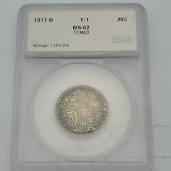 1917-d Standing Liberty Quarter Type-1 Full Head Ms+ Toned In Plastic Case