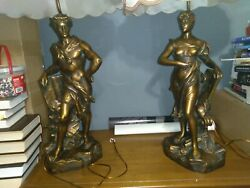 Set/pair Of 2 Henri Levassuer Victorian Table Lamps Man And Woman Sculpture 43in