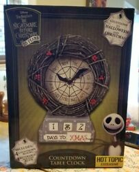 Disney The Nightmare Before Christmas Countdown Table Clock Hot Topic Excl. Euc