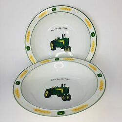 John Deere Bowls Tractor Lot Of 2 Soup Dishes Wheat 1956 Leaping Deer Gibson 730