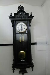 Antique German Schutz Marke He And Co Ebonised Twin Weight Vienna Wall Clock