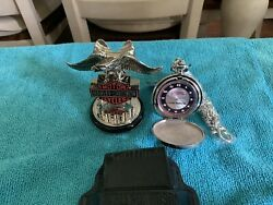 Franklin Mint Harley-davidson Pocket Watch W/ Stand And Case. Choose Yours