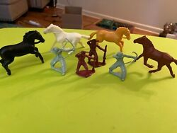 4 Vintage Tim Mee Toys Plastic Horses And Indian Figures