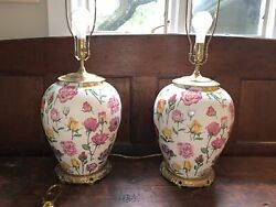 Pair 2 Large Chelsea House Porcelain And Brass Floral Roses Table Lamps