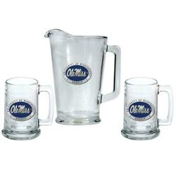 Ole Miss Rebels Pitcher And 2 Stein Glass Set Beer Set