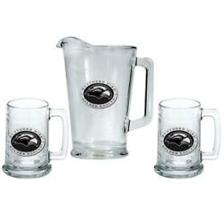 Southern Miss Usm Pitcher And 2 Stein Glass Set Beer Set