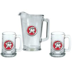 University Of Maryland Terps Pitcher And 2 Stein Glass Set Beer Set