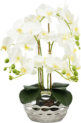 Artificial Flowers Fake Orchids In Silver Ceramic Vase Phalaenopsis White Flower
