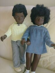 Vintage African American Sasha Doll Pair - Cora And Caleb - Made In England