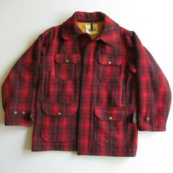 Vintage Woolrich Mackinaw Red Plaid Wool Hunting Barn Coat Chore Jacket Size 42