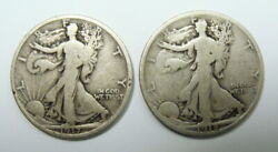 1917 And 1918 S Better Date Vg/f Walking Liberty Half Dollars, Free Shipping
