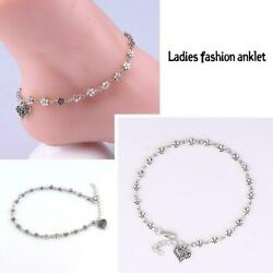 Antique Silver Chain Sexy Love Heart Plum Flower Anklets Anklet Foot Jewelry