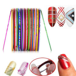 2pc 30 Colors Nail Gold And Silver Thread Colors Rolls Striping Tape Line Diy