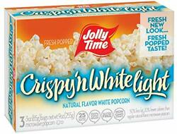 Jolly Time Crispy 'n White Light Natural Microwave Popcorn 3-count Boxes 9 Oz...