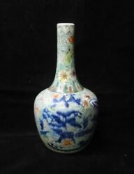 Antique Chinese Polychrome Hand Painting Flowers Green Porcelain Vase