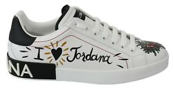 Dolce And Gabbana Shoes Sneakers White Logo Leather Casual Print Mens Eu41 / Us8