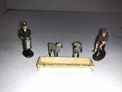 Vintage Lead Metal Farmers And Farm Animals Sheep Set Of 5 Pieces