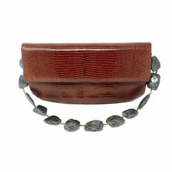 Darby Scott Jeweled Bag In Brown Lizard And Labradorite