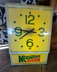 Vintage 1977 Mountain Dew Hanging Clock- Works And Lights Up