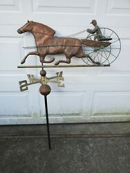 Vtg Antique Copper Sulky Jockey Horse Carriage Buggy Weathervane + Directionals