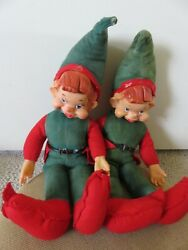 Lot Of 2 Vintage Christmas Elf Elves With Rubber Face Pixies 19.5 Long Each