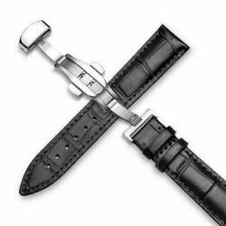 Genuine Leather Alligator Crocodile 22 MM Black Watch Band Strap Replacement