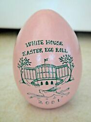 Rare 2001 Pink Wooden Wood White House Easter Egg George And Laura Bush Cancelled