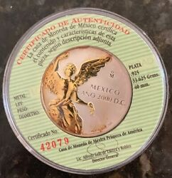 Mexico 2000 Silver Proof Goldish Medal Only Five Struck By The Mexican Mint