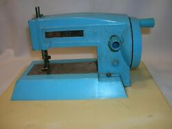 Marx Sewing Machine Toy Handcrank Blue 1960and039s - Base That Fit Table