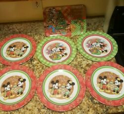 Disney Zak Mickey And Friends Christmas Plastic Plates6 And Serving Tray1