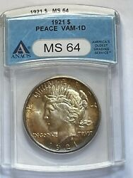 1921 High Relief Peace 1 Anacs Ms 64 Vam 1-d Toned Beauty