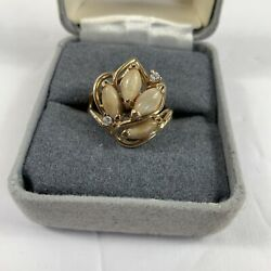 14k Ylw Gold 4 Elk Tooth And 2 Small Round Cut Diamond Ring Size 8 Stamped Aande