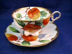 Vintage Lefton China Tea Cup And Saucer - Peach Decoration Hand Painted Japan