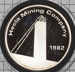 1982 Hecla Mining Company Merge 1 Oz .999 Fine Silver Collector Round