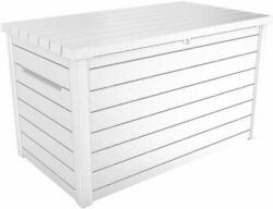 Keter 230 Gallon Deck Storage Box Outdoor Patio Container White