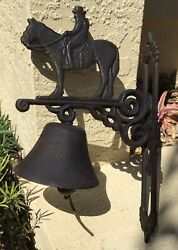 Vintage Americana Cast Iron Wall Mount Dinner Bell / Cowboy / Horse W Rider