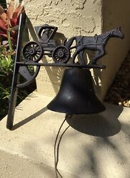 Charming Vintage Cast Iron Wall Mount Dinner Bell W Horse And Buggy / Carriage