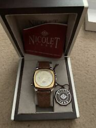 Nicolet 1886 Wrist Watch Automatic Battery Ostrich Band. Mint