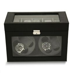 Brand New Black Leather With Glass Doors Velour Lined Locking Watch Winder