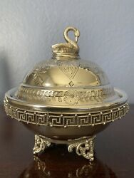 Antique Redfield And Rice Silver Plate Swan Finial Victorian Covered Butter Dish