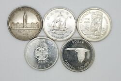 Canada 1939 1949 1958 1964 1967 Silver 1.00 One Dollar Coins Lot Of 5