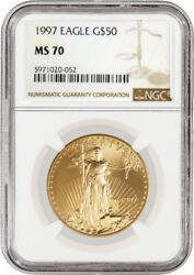 1997 50 1 Oz Gold American Eagle Ngc Ms70 Gem Uncirculated Coin