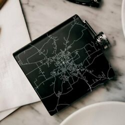 Andalusia - Alabama Map Hip Flask In Matte Black