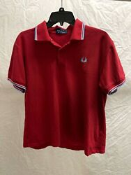 Fred Perry Made in England Dark Red Pique Polo Shirt 40 Medium $27.97