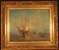 Antique Maritime Oil Painting Signed By F. W. Pulling In Gold Frame 16 X 20