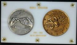 1961 Medallic Arts Co Naval Aviation 50th Ann. Silver And Bronze Medal Set