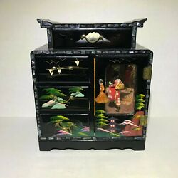 Vintage Black Lacquer Japanese Musical Jewelry Box
