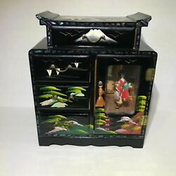 Vintage Black Lacquer Japanese Music Jewelry Box